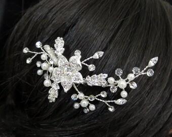 Bridal headpiece, Bridal hair comb, Wedding hair comb, Bridal hair clip,  Pearl hair comb, Wedding head piece, Rhinestone headpiece