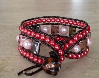 Online Jewelry Designer Inspired Handmade Coral Pearls & Hammered Metal Cuff Wrap Bracelet Leather Bracelet Lamp Work Bohemian Clasp