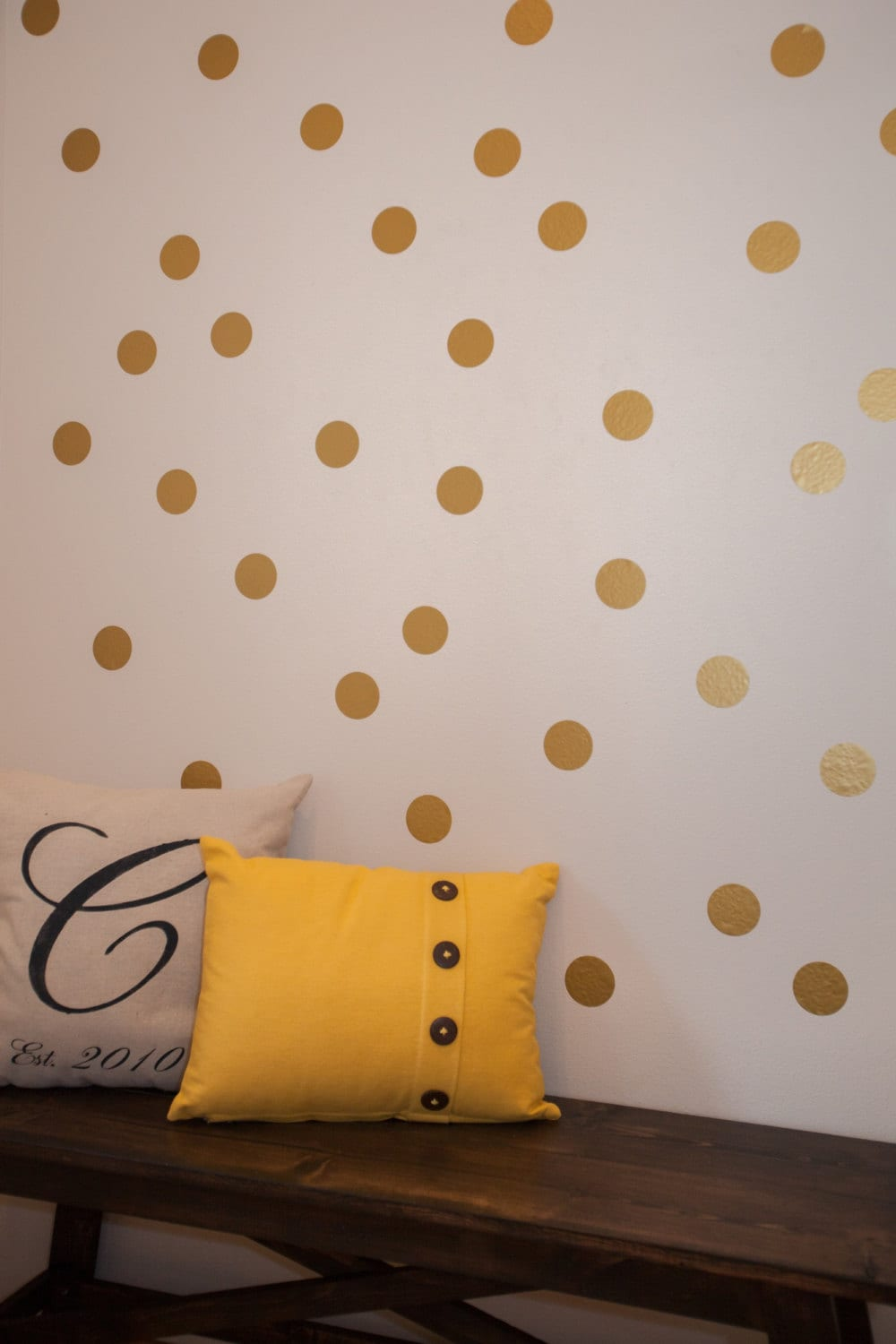 2 5 inch metallic gold circles vinyl wall decal polka dot. Black Bedroom Furniture Sets. Home Design Ideas
