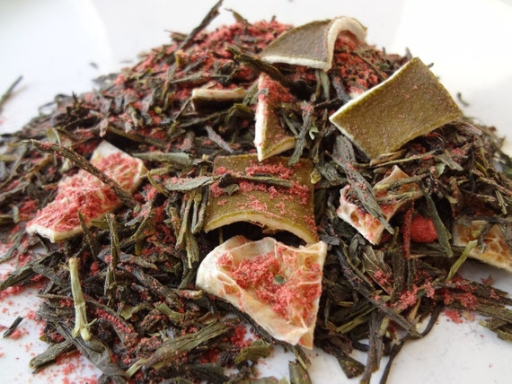 Green Sencha Loose Tea Blend - Gypsy Brew - Strawberry, Lime, Vanilla - 2 Different Sizes Available
