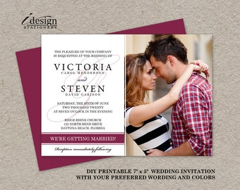 Photo Wedding Invitation, Photo Wedding Invites, Printable Elegant Photo Wedding Invitations, DIY Photo Wedding Invites