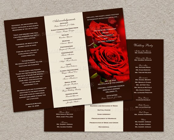 Tri Fold Wedding Program With Red Roses DIY By