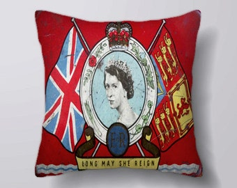 Vintage Oxo Queen Elizabeth Ii Coronation - Cushion Fabric Panel Or Case or with Filling