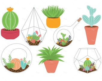 Succulent Clipart Terrariums and plants cliparts