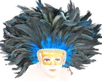 Feather Headdress Mask-Multi-colors Orange/Dark Turquoise/Red/Purple/Black/Natural/Shocking Pink