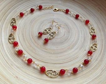 Red Agate Necklace and Earrings