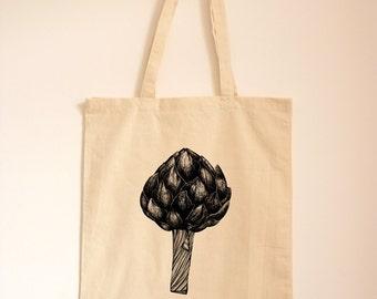 Artichoke Shopping Bag/ Grocery Cotton Tote/ Reuseable Bag/ Foodie Gift/ Illustration Tote/ Artichoke Print/ Fruit and Veg/ Market Bag