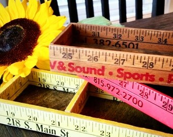 Yardstick boxes, Vintage rulers crafted into boxes with rustic wood, Desk and craft organizers or a teacher's gift! Sewing notion boxes