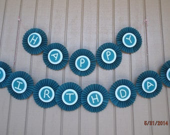 Happy birthday rosette banner