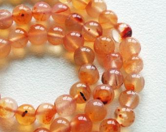 "natural carnelian - carnelian beads - carnelian round beads - 15"" strand - 4mm carnelian round beads"