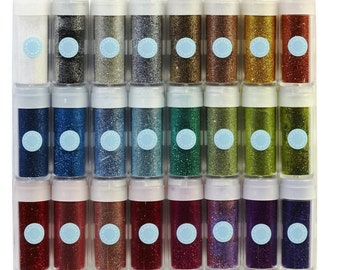 Crafts Glitter Set, Rich Essentials For Crafting, 24 Different Colors For Adding Dazzling Sparkle To Cards, Scrapbook, Gifts And Decorations