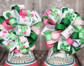 Turtle Shoe Bows or Pigtail bows