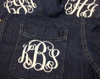 Denim monogrammed shirt, brides and bridesmaid shirt, button up shirt