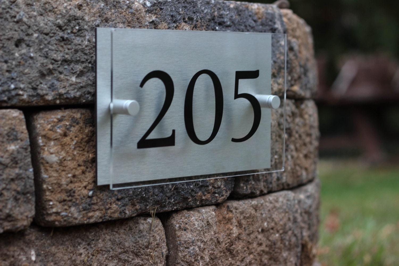 Modern House Number Sign Aluminum Acrylic