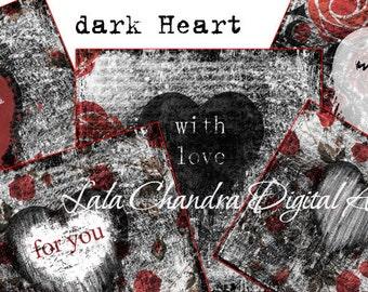 dark Heart cards INSTANT DOWNLOAD grunge scrapbooking Gothic art digital collage sheet