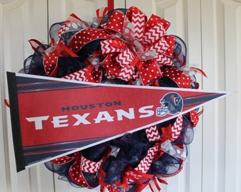 Houston Texans wreath. Custom professional or college sport team deco mesh wreath.  Houston Texans pennant.  Made to order wreath