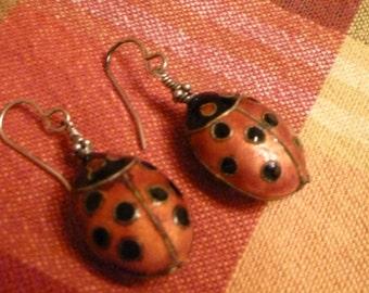 """Vintage Lady Bug Earrings  1"""" in Length  Handmade"""