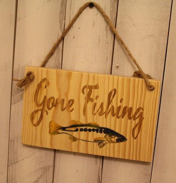 Items Similar To Gone Fishing/Fishing Sign/Engraved Wood