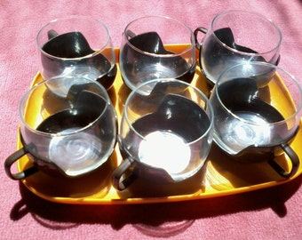 six cups and tray 1980