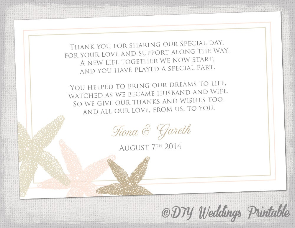 Beach Wedding thank you card template Starfish – Thank You Card Template Wedding