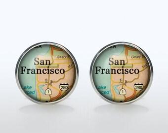 San Francisco Map Cufflinks Silver plated San Francisco Vintage Map Cuff links men and women Accessories Antique brown black yellow
