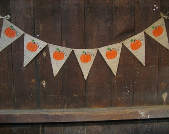 Thanksgiving Decor, Halloween Banner, Fall Banner, Thanksgiving Banner, Garland, Burlap Banner Bunting, Rustic Fall Decor, Pumpkin Banner