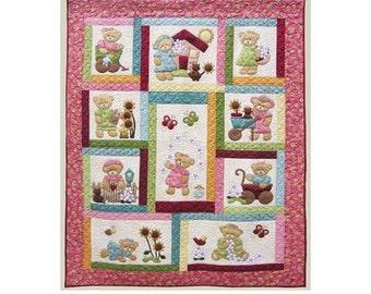 Kids Quilts Daisy Bear Girl Teddy Bear Applique Quilt Pattern