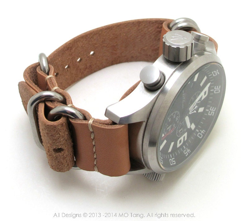 Leather Watch Strap 5 Rings Heavy Duty 20mm 22mm By