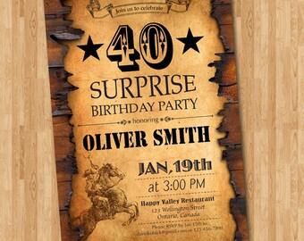 40th western birthday invitation. 30th 40th 50th 60th 70th 80th 90th Birthday Invite. Surprise Party. Men Birthay. Printable digital DIY.