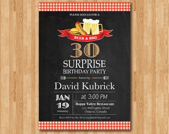 30th birthday invitation. Beer and BBQ Birthday Party invitation. Surprise Birthday. cheers and beers. Chalkboard. Printable Digital DIY.