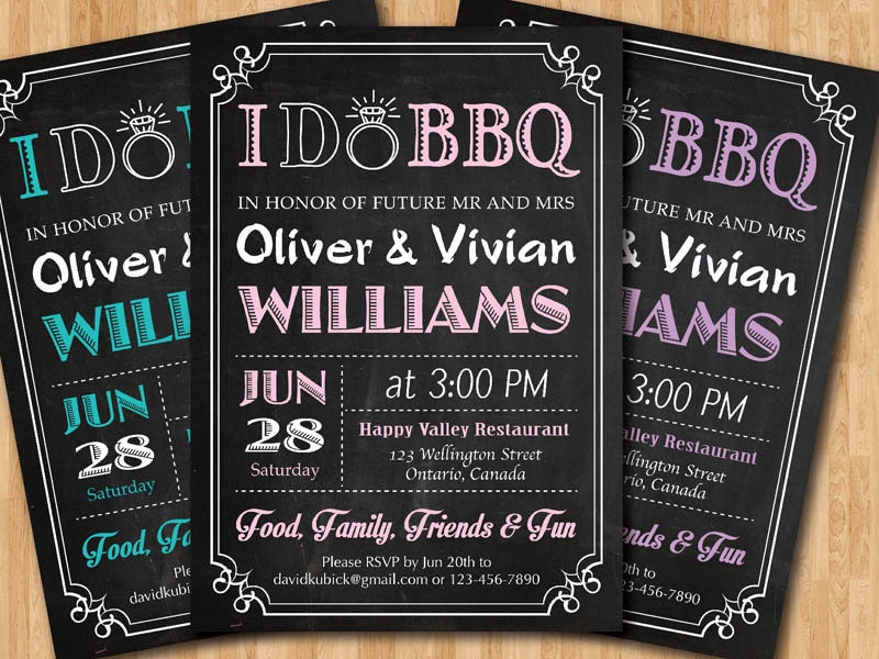 i do bbq wedding invitation chalkboard invite pink blue. Black Bedroom Furniture Sets. Home Design Ideas