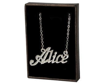 Name Necklace Alice - White Gold Plated 18ct Personalised Necklace with Czech Crystals