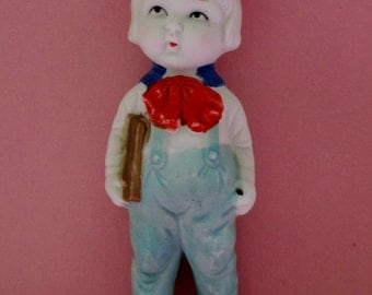 Doll; Vintage Doll, Bisque Doll, Frozen Charlotte Bisque Doll, Male, Made In Japan, Polychrome Cold Painted