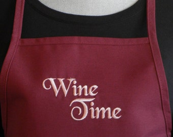 WINE TIME Womens Aprons, Embroidered Aprons , Cute Aprons, Wine Aprons, Kitchen and Gourmet, Cooking Aprons, Burgundy Aprons, Womens Aprons