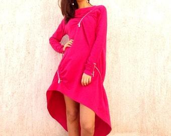 Plus Size Dress, Plus Size Pink Dress, Pink Sweatshirt, Pink Maxi Dress, Sweatshirt Dress, Sweatshirt Fuchsia Dress TDK35 by TEYXO