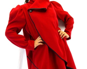 Red Asymmetrical Extravagant Coat / Wool Plus Size Jacket / Red Cashmere Coat Jacket TC18
