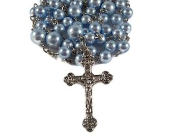 Baby Blue Swarovski Pearl Rosary