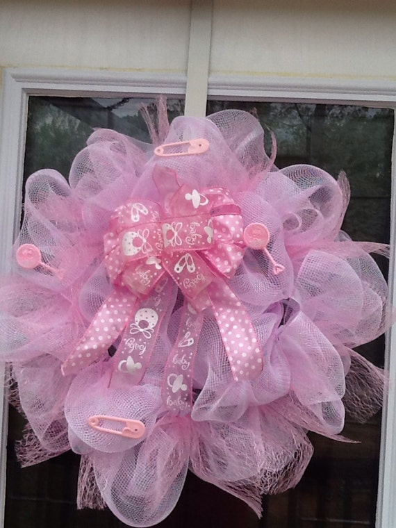 Items Similar To Baby Girl Deco Mesh Wreath On Etsy
