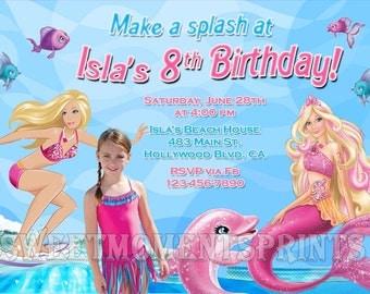 Barbie Mermaid Tale Custom Photo Birthday Party Invitations