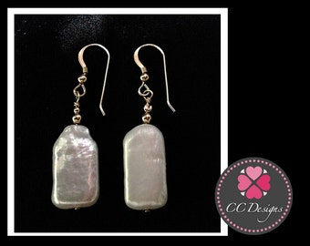 CCD027e: Oblong Freshwater Pearl Earrings with 14K Goldfill beads and fishook dangles.