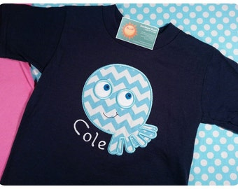 Boy's Octopus Chevron Ocean Octopus on Navy Shirt with Name