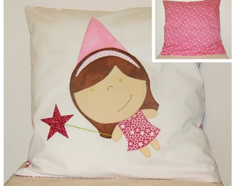 SALE 30% - reversible Cushion cover fee and pink stars