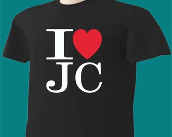 Christian T-Shirt I Love Jesus Christ Heart JC