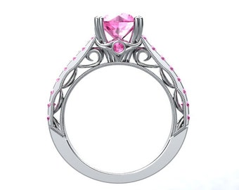 Pink Sapphire Ring HEIRLOOM LOVE Ring 14kt White Gold 1.25ct Pink Sapphire Engagement Ring Wedding Anniversary Ring Pristine Custom Rings