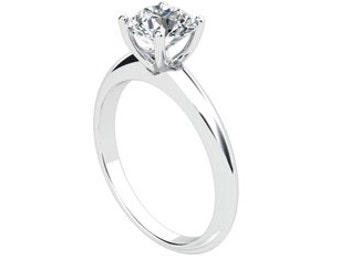 Forever One Moissanite Ring Round 1.20ct Knife Edge SOLITAIRE ENGAGEMENT RING 18kt White Gold Engagement Anniversary Promise Ring