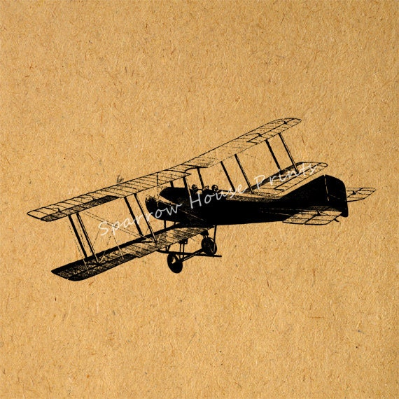 Vintage Plane Wall Decor : Airplane print antique wall art biplane home by