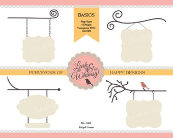 4 Boutique Signs · Digital Scrapbook · Clip Art · Journal Tags · Signs · Personal & Commercial Use · Instant Download
