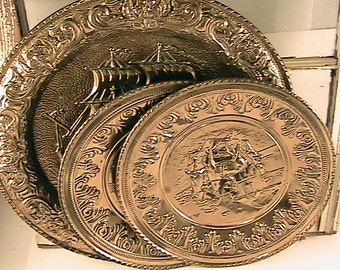 Vintage Brass or Gold Wall Hanging Set of 3 - Clipper Ship Schooner Decor - Boat Art - Round Plaque - Nautical Wall Art Stagecoach Horses