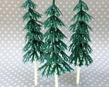 12 Small Pine Tree Cake Toppers, Plastic Evergreens, Woodland Cupcakes, Miniature Christmas Trees
