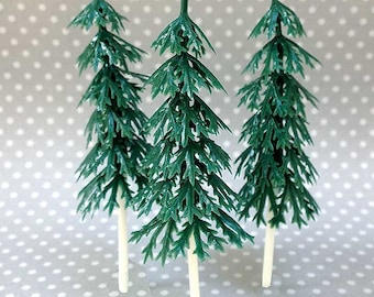 12 Small Pine Tree Cake Toppers, Plastic Evergreens, Woodland Cupcakes, Miniature Christmas Tree, Let's Explore Adventure, Camping Cake Pick